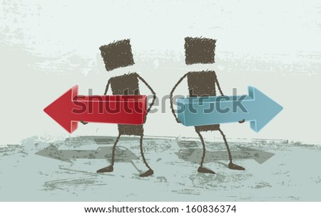 Business Concepts. Opposite directions. EPS8 Illustration. - stock vector
