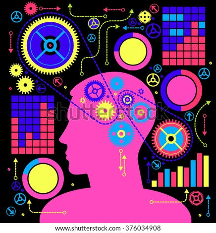 business concepts. the concept of human intelligence. Head and Brain gears in progress. - stock vector