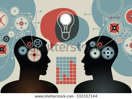 business concepts. the concept of human intelligence. people has an idea. Brain storming. - stock vector