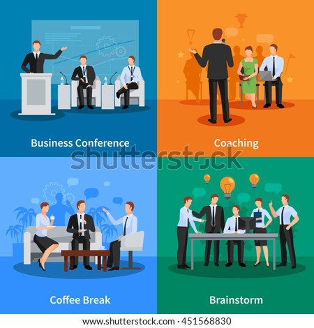Business Conference Concept. Business Meeting Vector Illustration. Conference Flat Icons Set. Conference Design Set. Conference Isolated Elements. - stock vector