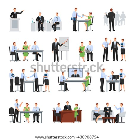 Business Conference  Flat Elements Collection Set Isolated Vector Illustration - stock vector