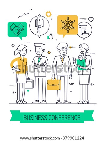 Business conference flat line concept background. Ideal for posters, website banners and flyers. Linear concept design on business forum, congress, discussion, conference or meeting - stock vector