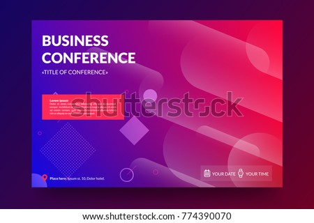 Business conference invitation concept. Modern memphis colorful abstract geometric background. Template for banner,web page development, poster, flyer, magazine page. Vector eps 10.