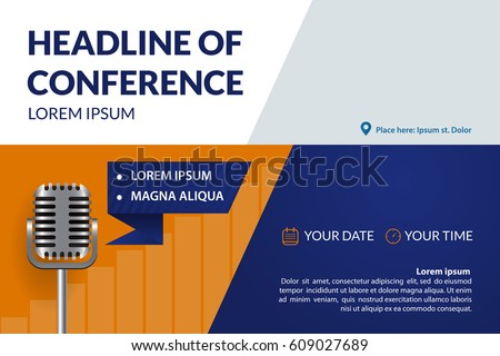 Business conference invitation concept retro microphone stock vector business conference invitation concept with retro microphone colorful simple geometric background template for banner stopboris Image collections