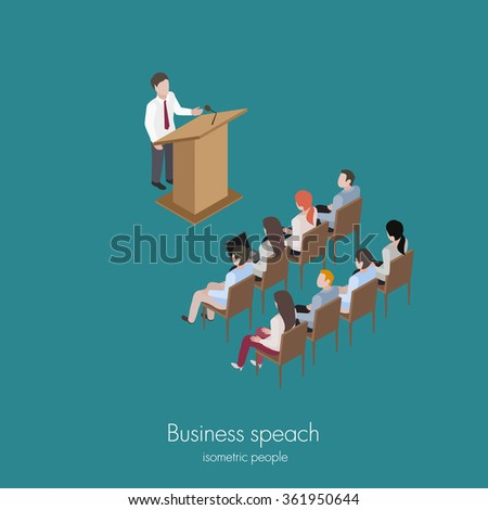 Business conference man speech education training isometric vector illustration - stock vector