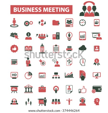business conference, meeting, community, human resources, management icons, signs vector concept set for infographics, mobile, website, application  - stock vector