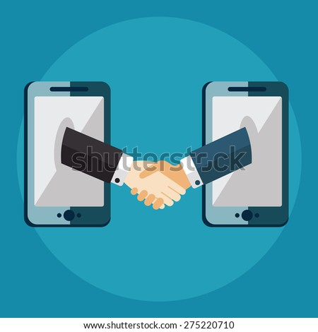 business connection and relations. Handshake, business icons in flat, e-business, apps banner - stock vector
