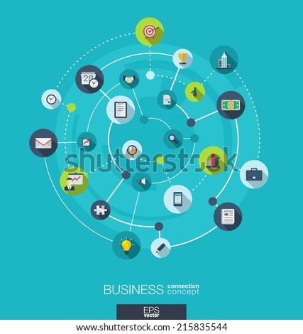 Business connection concept. Abstract background with integrated circles and icons for strategy, service, analytics, research, digital marketing concepts. Vector infographic illustration. Flat design
