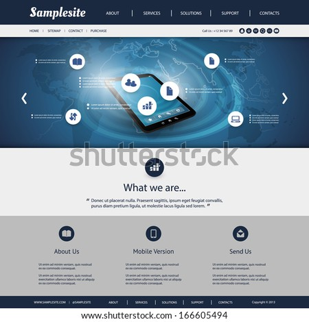 Business, Connection, Network - Website Template - stock vector
