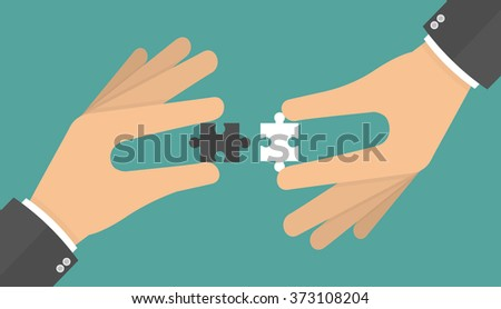 Business connections concept. Two hands putting puzzle pieces together. Flat style - stock vector
