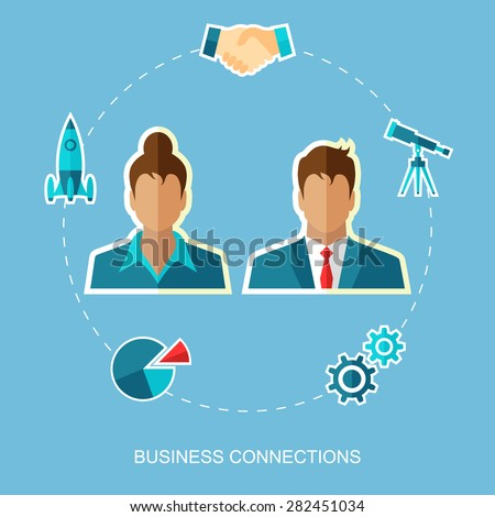 Business connections. Flat design. Vector illustration. - stock vector