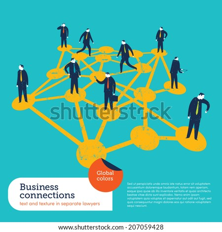 Business Connections. Vector illustration Eps10 file. Global colors. Text and Texture in separate layers.  - stock vector