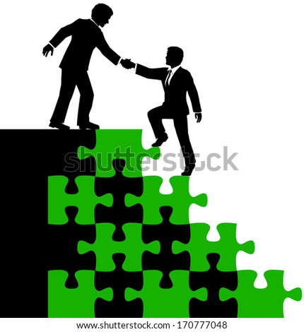 Business consultant mentor or teamwork helps associate find problem puzzle solution  - stock vector