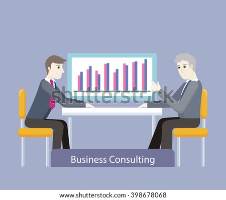 Business consulting. People on negotiations. Two businessman sitting on the chairs at the negotiating table and discussing business graph or chart, consultation in the office. Vector illustration - stock vector