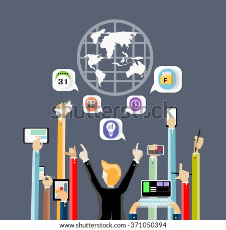 Business Contact worldwide - stock vector