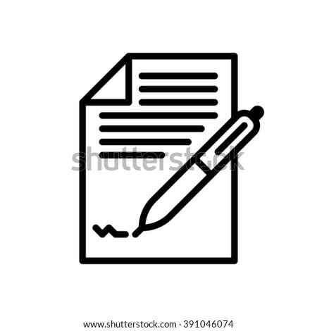 Business contract, vector illustration, outline stroke business icon. - stock vector