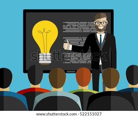 Business convention and presentation. Motivational management. Business man talks about new direction in company strategy. Part of series of developing successful leadership in team working. Vector