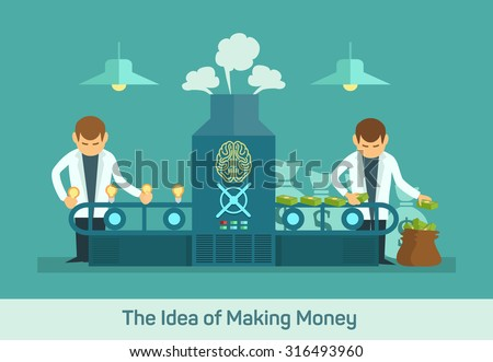 Business conveyor design concept with idea money factory creative machine flat icons isolated vector illustration - stock vector
