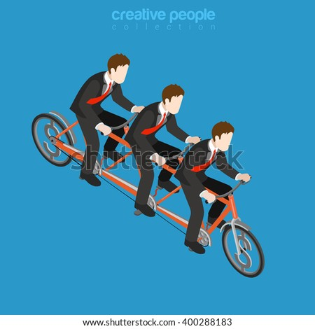 Business corporate company team work concept. Flat 3d isometric web infographics vector illustration. Three businessmen riding triple tandem bike. Creative people collection.