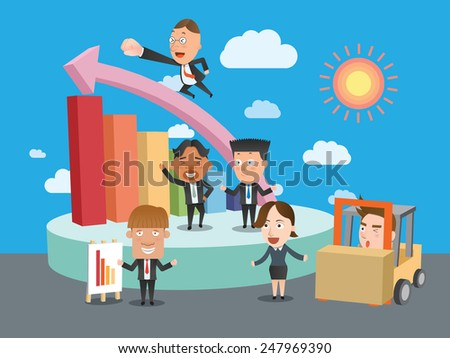 Business corporation team graph concept flat character - stock vector