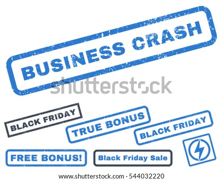 Business Crash rubber seal stamp watermark with additional images for Black Friday sales. Vector smooth blue stickers. Caption inside rectangular shape with grunge design and unclean texture.
