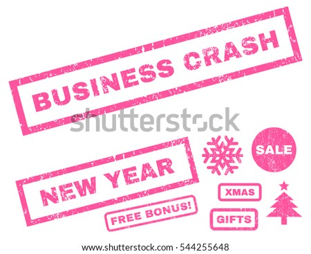 Business Crash rubber seal stamp watermark with bonus banners for Christmas and New Year offers. Caption inside rectangular shape with grunge design and dust texture. Vector pink emblems.