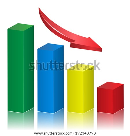 Business crisis graph with falling arrow. Vector illustration.