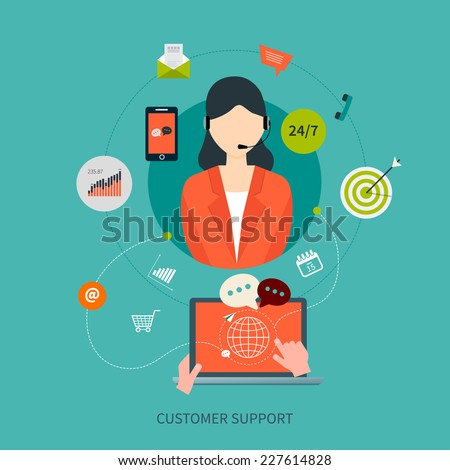 Business customer care service concept flat icons. Feedback. Woman with icons. Vector illustration - stock vector