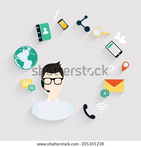 Business customer care service concept flat icons set of contact us support help desk phone call and website click for infographics design web elements.Vector illustration. - stock vector