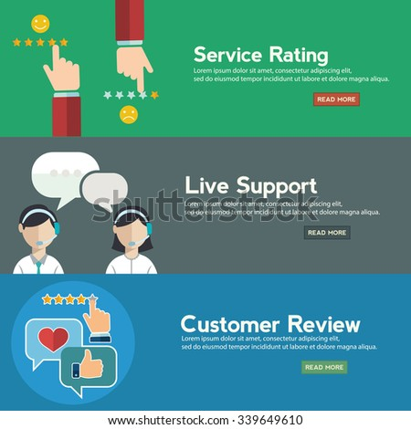 Business customer care service concept, rating on customer service and review flat banner set - stock vector