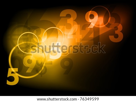 business dark background with numbers - stock vector