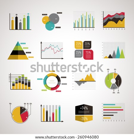 business data analyze elements set in flat design - stock vector