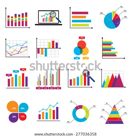 Business data market elements bar pie charts diagrams and graphs flat icons in vector illustration. - stock vector
