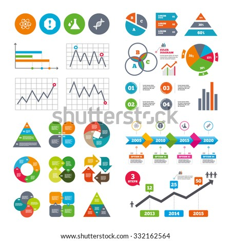 Business data pie charts graphs. Attention and DNA icons. Chemistry flask sign. Atom symbol. Market report presentation. Vector - stock vector