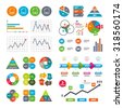 Business data pie charts graphs. Download document icons. File extensions symbols. PDF, GIF, CSV and PPT presentation signs. Market report presentation. Vector - stock photo