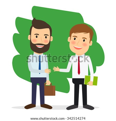 Business deal. Business people shaking hands or Achiving agreement. Vector illustration. - stock vector