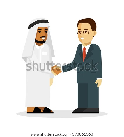 Business deal handshake concept with saudi arab and european businessman characters in flat style isolated on white background. Arabic and european ethnic man smiling and shake hands - stock vector