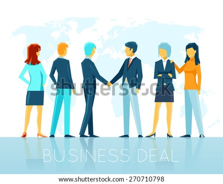 Business deal. Teamwork agreement, partnership people, handshake and cooperation. Vector illustration - stock vector