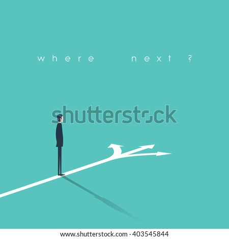 Business decision concept vector illustration. Businessman standing on the crossroads with three arrows and directions. Eps10 vector illustration. - stock vector