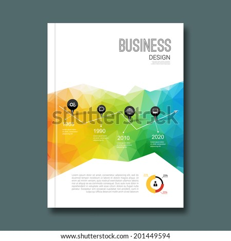 Business design background. Cover book report poster booklet brochure Magazine layout mockup template geometric shapes infographic, vector illustration - stock vector
