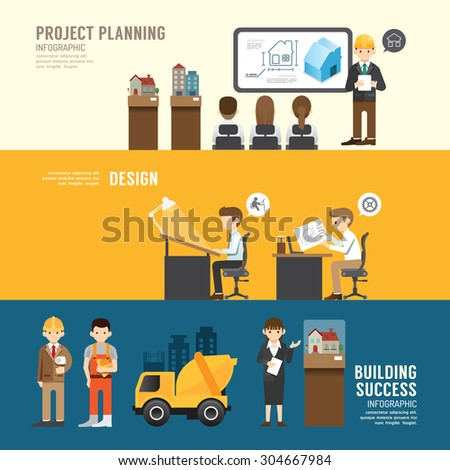 Business design conference concept people set presentation,meeting, building, success, agreement or partnership. with flat icons. vector illustration - stock vector