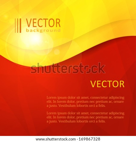 Business design template with copy space in an arced frame in shades of red, orange, yellow. - stock vector