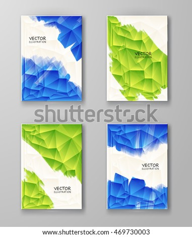 Business design templates. Brochure with Blue and Green Paint Backgrounds set. Abstract Modern Decoration. Painting. Wallpaper with empty space for your text. Vector illustration.