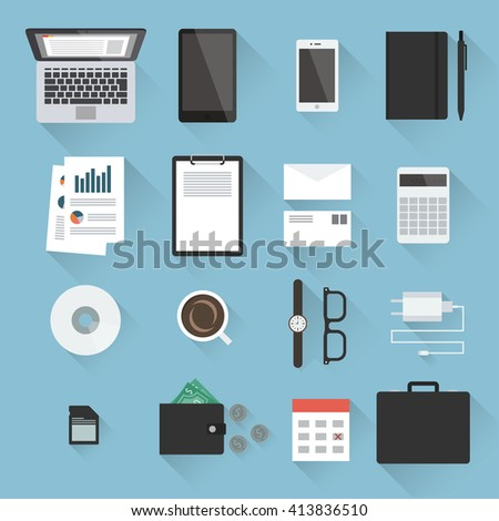 Business desktop objects set in flat style with light shadows: laptop, tablet, smartphone, notebook, envelopes, calculator, paperwork, CD, calendar, adapter, case, purse with money, watches. Top view. - stock vector