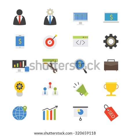 Business Development Flat Icons color - stock vector