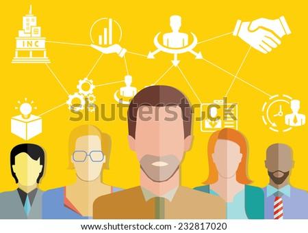 business development, management concept, yellow background - stock vector