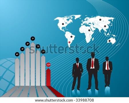 business diagram finance and background world map