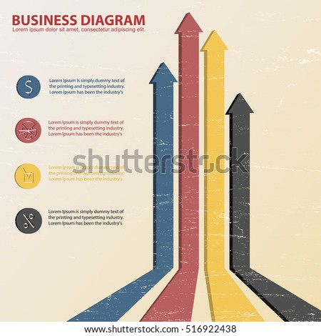 Business diagram template with several text fields and multicolored vertical arrows on light textured background flat vector illustration