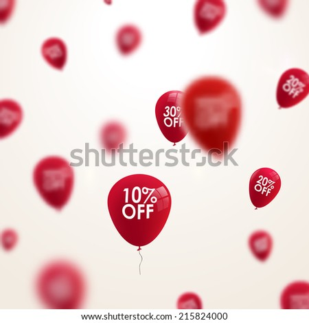 Business discounts background with blurred balloons  - stock vector