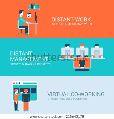 Business distant co-working remote work concept flat icons set of distance workplace table management virtual workspace and vector web illustration website click infographics elements - stock vector